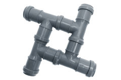 Four plastic pipes composition Royalty Free Stock Photography