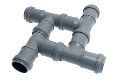Four plastic sewer pipes composition Royalty Free Stock Photography
