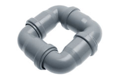 Four plastic sewer pipes composition Stock Photography