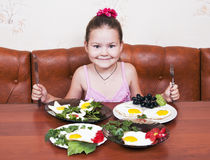 Four plates of scrambled eggs, hard choices Royalty Free Stock Photo