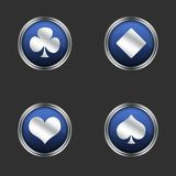The four playing card suits icons. The four French playing card suits used primarily in the English-speaking world: spades (♠), hearts (♥), diamonds stock illustration