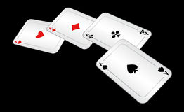 Four playing cards. Stock Image