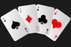 Free Four Playing Cards Arranged One After Another. Aces. Poker. Win. Royalty Free Stock Photography - 164191007