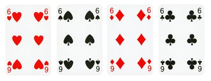 Four Playing Cards Isolated on White Background royalty free stock photo