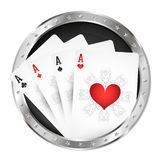 Four playing cards in a silver circle royalty free illustration