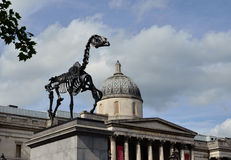 Four Plinth Horse. The Gift Horse by Hans Haacke is the Fourth Plinth's  tenth commission on Trafalgar Square Royalty Free Stock Image