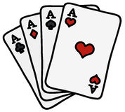 Four poker aces. Hand drawing of four poker aces Stock Image