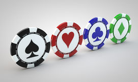Four poker chips Royalty Free Stock Photo