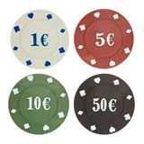 Four poker chips isolated on white Royalty Free Stock Image