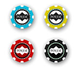 Four poker chips isolated on white background Royalty Free Stock Image