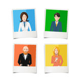 Four polaroid instant photos with flat portraits of people on colourful backgrounds Royalty Free Stock Photos