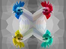 Four polygonal cock heads Royalty Free Stock Photos