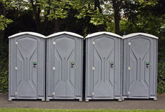 four portable toilets  Royalty Free Stock Photo