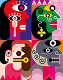 Four Faces - abstract vector illustration. Four portraits. Abstract vector composition Stock Images
