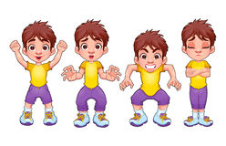 Four poses of the same child, in different expressions stock images