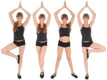 Four poses. Young girl making yoga exercises Stock Photography