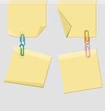 Four post it and clips Stock Photography