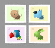 Four postage stamps with pets. Cat, dog, parrot and rabbit Royalty Free Stock Photo