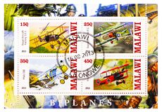 Four postage stamps printed in Malawi shows Biplanes serie, circa 2013