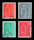 Four postage stamps printed in Norway from Local Motives serie,. MOSCOW, RUSSIA - MAY 13, 2018: Four postage stamps printed in Norway shows Local Motives, serie Stock Photos