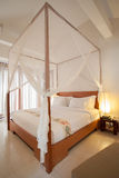 Four-poster bed. Sleeping room with four-poster bed Royalty Free Stock Photos
