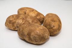 Four Potatoes on a White Counter Stock Image