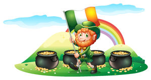Four pots of coins at the back of a man with the Ireland flag Stock Images