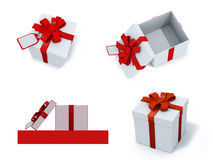 Four present boxes Royalty Free Stock Photography