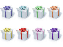 Four present boxes on white background Stock Images