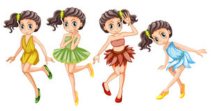Four pretty fairies in colorful dress Royalty Free Stock Images