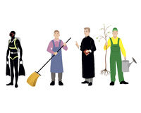 Four professions men Royalty Free Stock Image
