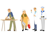 Four professions men Royalty Free Stock Photography