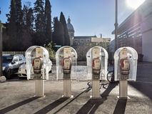 Four public telephones in a row, Rome Stock Photos