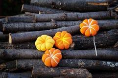 Four pumpkin fabric Stock Photos