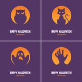 Four purple Halloween cards Royalty Free Stock Photography