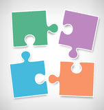 Four Puzzle Jigsaw Infographic Elements on Grayscale Royalty Free Stock Photo