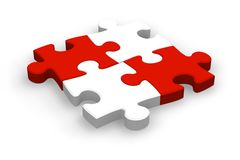 Four puzzle pieces Stock Photos