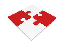 Four Puzzle Pieces. Red and white color, four jigsaw puzzle pieces on white background Royalty Free Stock Photos