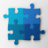 Four puzzle pieces with clipping path Stock Images