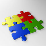 Four puzzle pieces with clipping path Royalty Free Stock Image