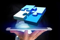 Four puzzle pieces making a logo on a futuristic interface - 3d. View of  Four puzzle pieces making a logo on a futuristic interface - 3d rendering Stock Images