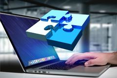 Four puzzle pieces making a logo on a futuristic interface - 3d. View of  Four puzzle pieces making a logo on a futuristic interface - 3d rendering Royalty Free Stock Photos