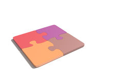 Four puzzle pieces of pastel colors. 3d rendering of close-up of pastel colored puzzle pieces on white background. Isolated Stock Photos