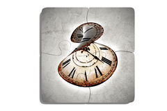Four puzzle pieces with twisted clock Stock Photography