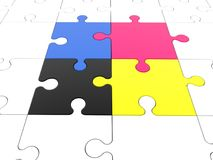 Four puzzle pieces in various colors with white puzzle around. In background vector illustration