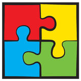 Four puzzles. Vector symbol Royalty Free Stock Photos