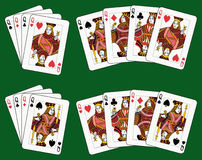 Four Queens. Playing cards: four queens in four different arrangements Stock Photos