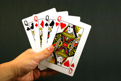 Four queens. Playing cards - four queens Stock Images