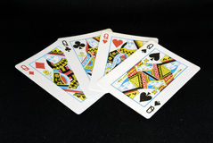 Four Queens. 4 queens in a poker deck Stock Photography