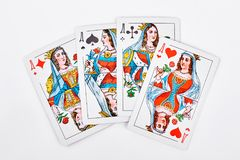 Four queens from playing card. Royalty Free Stock Photography